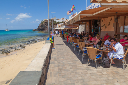 Morro Jable, Fuerteventura Spain, May 18, 2018: Beach and restaurants in Morro Jable, Fuerteventura- Canary Islands Editorial