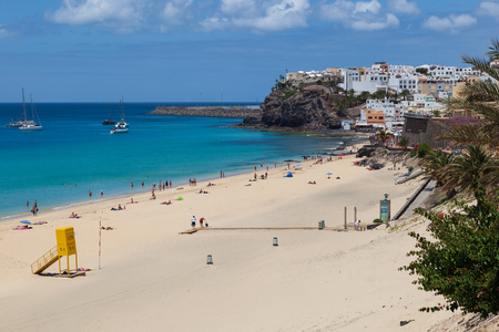 Morro Jable, Fuerteventura/ Spain, May 18, 2018: Beach in Morro Jable, Fuerteventura- Canary Islands