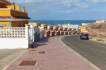 Morro Jable, Fuerteventura Spain, May 18, 2018:  Street in Morro Jable with apartments