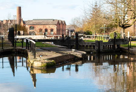 The view over Lock 87 on the Leeds Liverpool Canal in Wigan