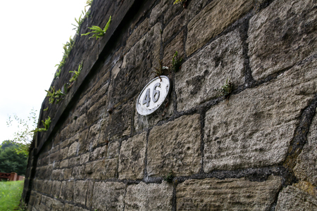 The stone brickwork of Bridge 46 on the Leeds Liverpool canal near Wigan