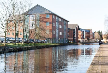 The modern offices alongside the Leeds Liverpool canal in Wigan