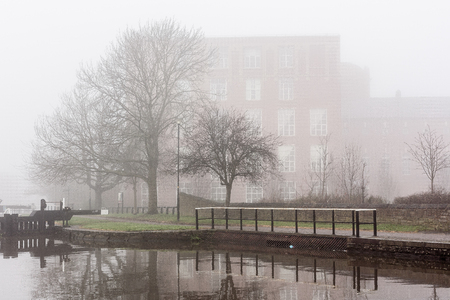 The fog and the mist over the Leeds Liverpool canal near Wigan Stock Photo