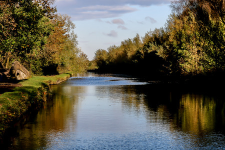 The canal on a quiet and sunny day in Haigh Country Park