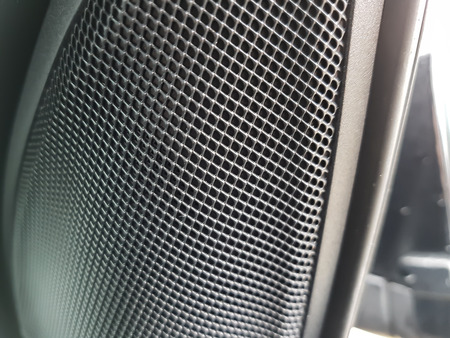 The small audio speaker inside the interior of a modern car