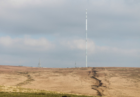 The view across to the television mast on winter hill 写真素材