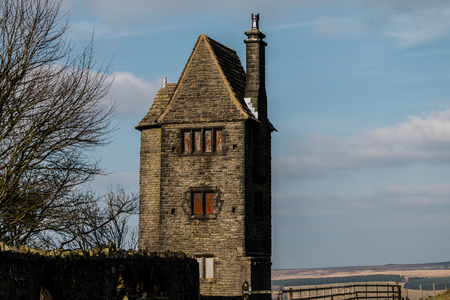 The brick pigeon tower folly on the moorland