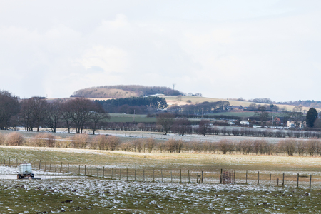 The view over the fields towards Hunters Hill Stockfoto
