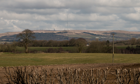 The farmers fields of Lancashire over towards Winter Hill