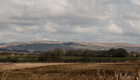 The panorama view of Winter Hill and the farmers fields