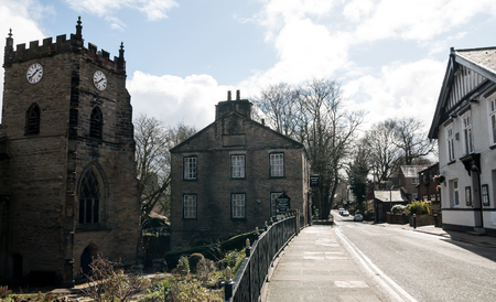 The narrow Church Street in Upholland on the outskirts of Wigan
