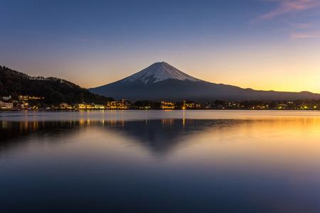 kawaguchi: Mt. Fuji, Japan at Lake Kawaguchi after sunset.