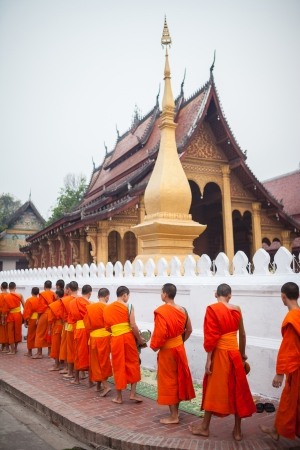 mnich: Buddhist Monks in Lao Stock Photo
