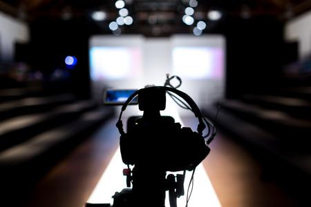 tv camera: Fashion Show Stage Stock Photo