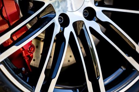 super car: Super Car Wheel Closeup Stock Photo