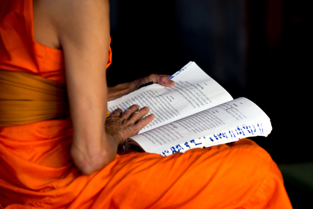 adult vietnam: Monk reading a book  Stock Photo