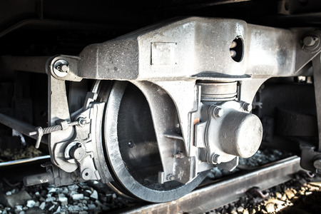 undercarriage: Train Car Undercarriage, shallow depth of field