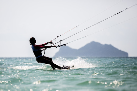 wakeboarding: Kite surfing, kiteboarding action photos