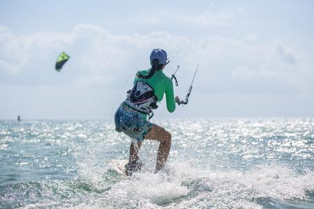 Kite surfing, kiteboarding action photos