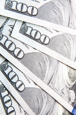 Macro Close-Up on Hundred Dollar Bills Stock Photo