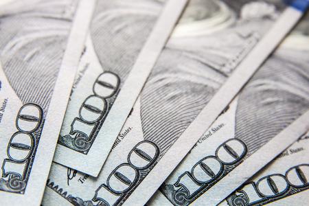 ben franklin money: Macro Close-Up on Hundred Dollar Bills Stock Photo