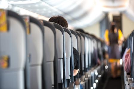 Interior of a brand new passenger airplane Standard-Bild