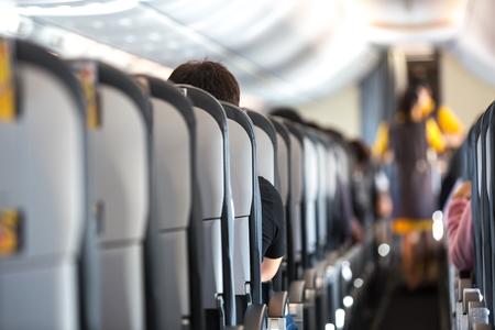 Interior of a brand new passenger airplane Stockfoto