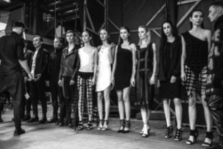 runway fashion: Fashion Show, Catwalk Runway Event A backstage, casting blurred on purpose