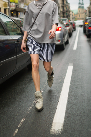 milánó: Fashionable young woman on a street Stock fotó