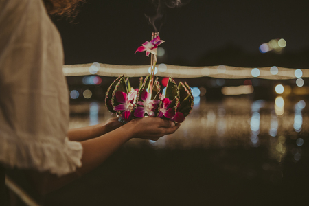 Loy Krathong Festival Themed Photo Stock fotó - 90374130