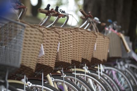 Row of vintage town bicycles. Stockfoto