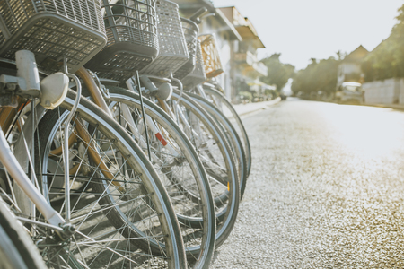 Row of vintage town bicycles. Stockfoto