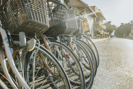 Row of vintage bicycles is rent. Stockfoto