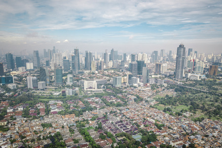 Jakarta, Indonesia, drone photograph 스톡 콘텐츠