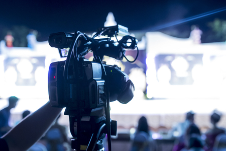 Television Camera Broadcasting a Show Stock Photo