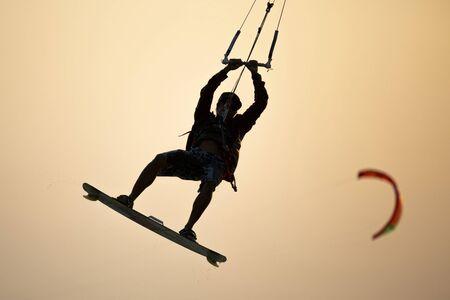Kitesurfing, Kite boarding in an exotic location.