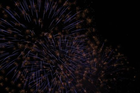 Beautiful colorful fireworks in the night sky, fireworks in the night sky. Decoration for Christmas, New Year, Valentine Day celebration, holiday. Foto de archivo