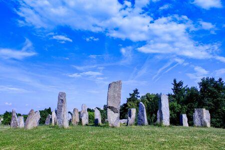 Stone circle in Prague park. Nature theme, park, garden, greeting card, architecture Stock fotó