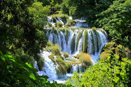 Waterfalls in Krka National Park, Croatia, beautiful nature and turquoise water. Idyllic, picturesque, sunny day, wallpaper