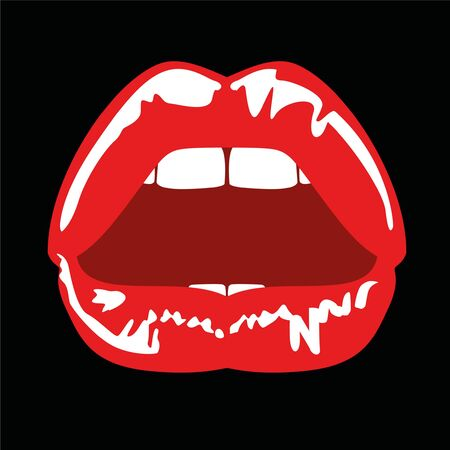 beautiful illustration of sensual female lips parted, in red on black background with 80s style