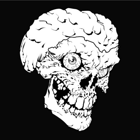 Vector design for t-shirt of a white skull isolated on black