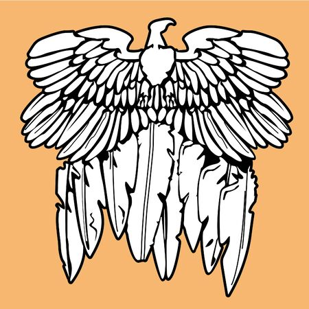 illustration for t-shirt of vintage Indian emblem white of an eagle with feathers on orange background