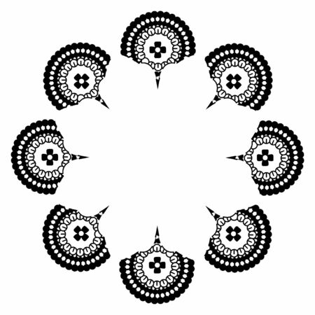 Beautiful mandala with black circles and geometric lines forming the silhouette of a white flower Illusztráció