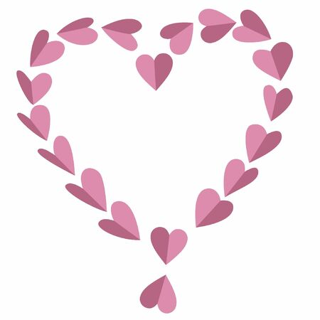 Beautiful design of a heart formed by small pink hearts on white background