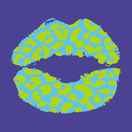 Design for a shirt of a pink leopard print lips on blue background 向量圖像