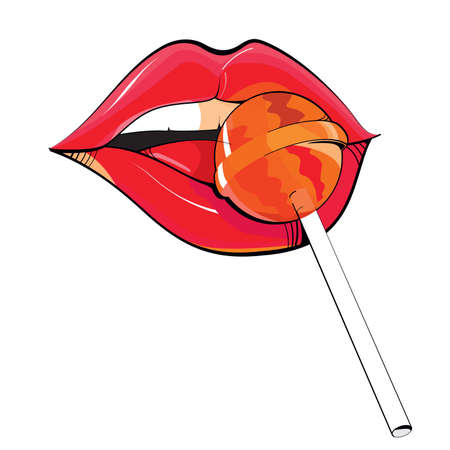 Vector illustration of red lips of woman trying a lollipop isolated on white