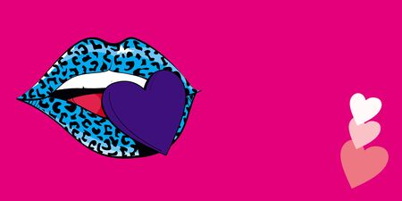 Panorama design of a leopard print lips with a blue heart on pink background panoramic web banner