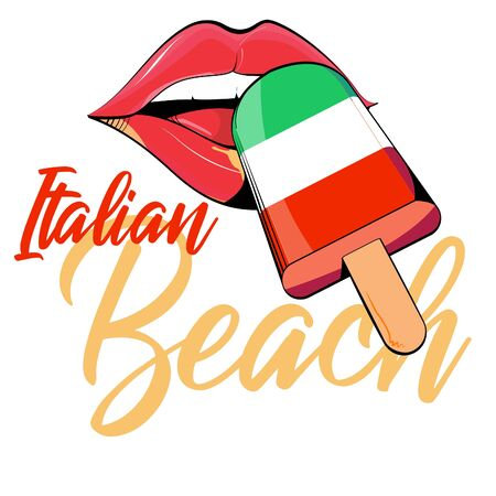 Vector drawing of woman lips trying ice cream in the colors of the Italian