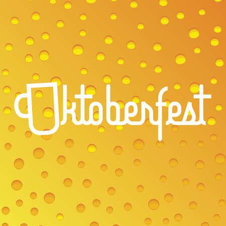 Oktoberfest beer festival vector poster with beer, bubbles background. Banner event with beverage ale backdrop illustration Vector Illustration