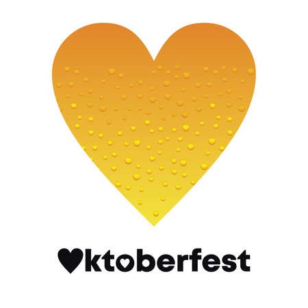 design for a poster with a heart with beer inside and the word Oktoberfest underneath on white background